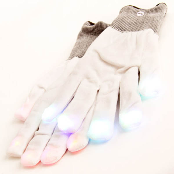 White Raver Gloves, 6 modes, Multicolor