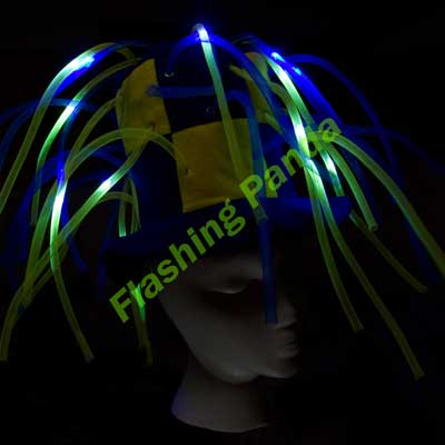 Flashing LED multicolor Tentacle Noodle Top Hat