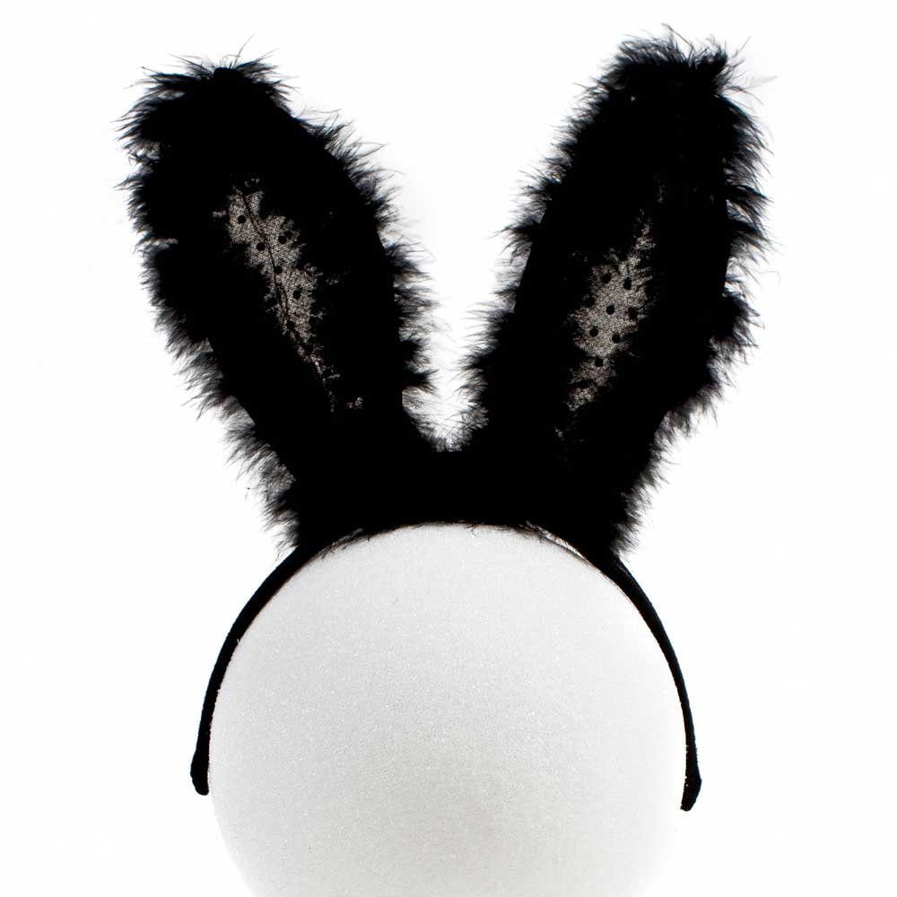 Furry Flashing Black LED Bunny Ears