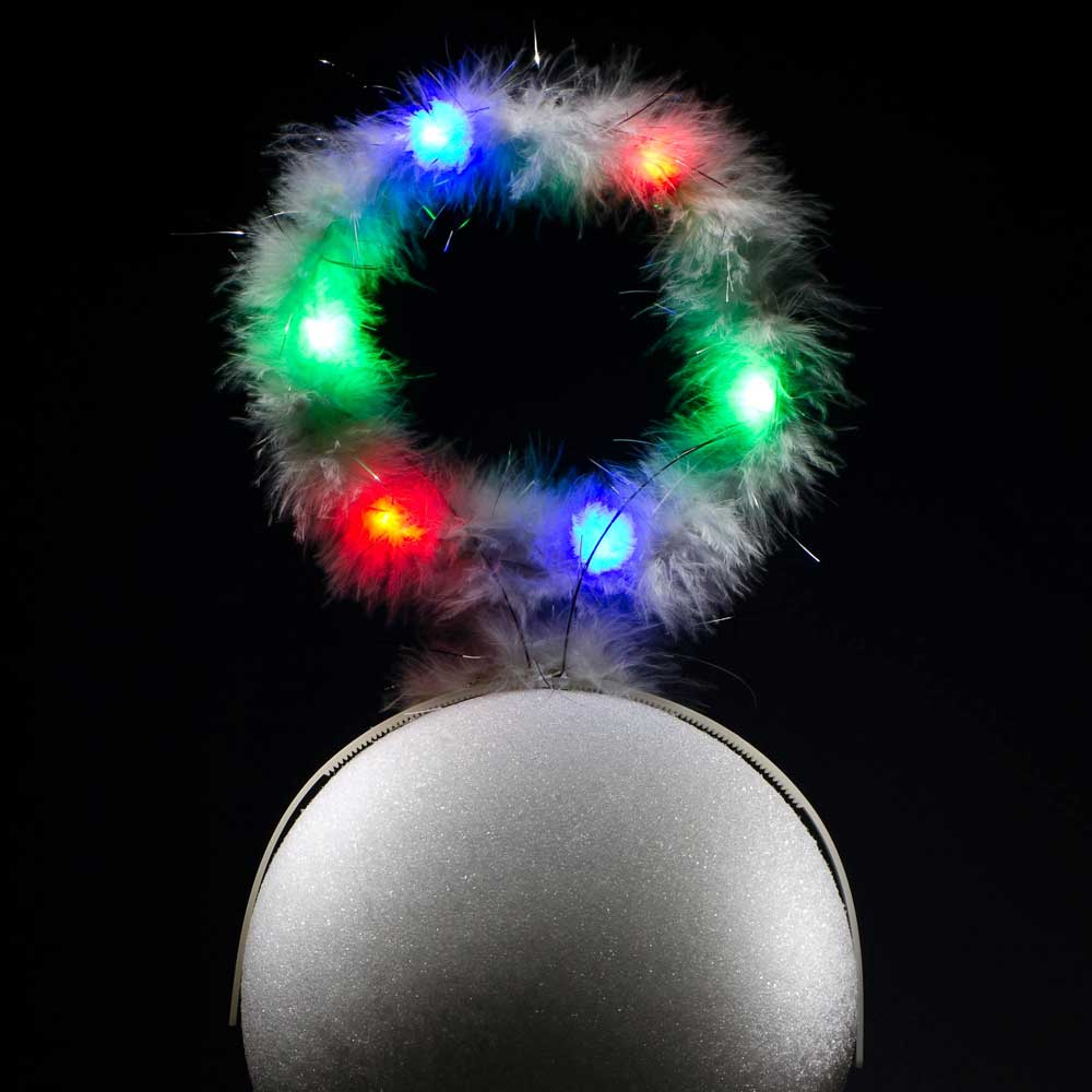 White Feather Flashing Multicolor LED Halo Headpiece
