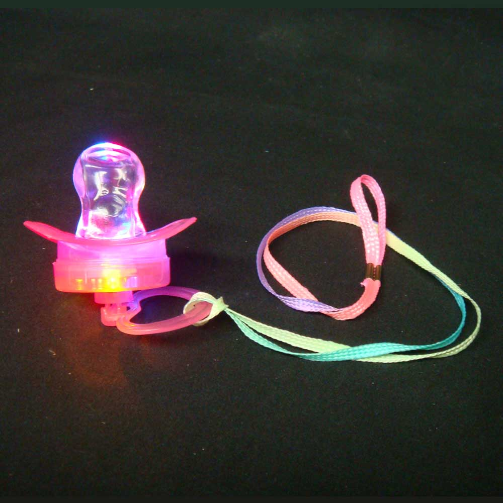 LED Flashing Pacifier Binkie Raver Pendant Necklace