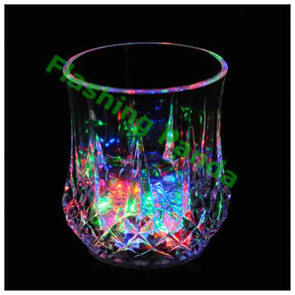 6 oz LED Light-Up Crystal Faceted Flashing Rocks / Whiskey Glass