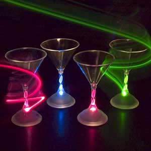 6 oz LED Light Up Flashing Martini Glass - 24 units