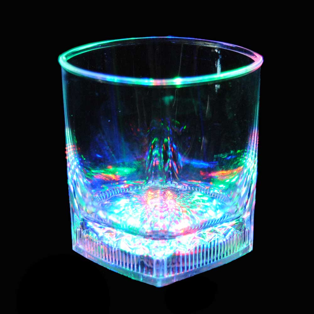 8 oz LED Light-Up Flashing Square Base Rocks / Whiskey Glass