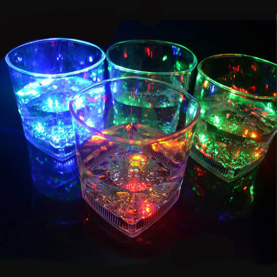 8 Oz Led Light Up Flashing Square Base Rocks Whiskey