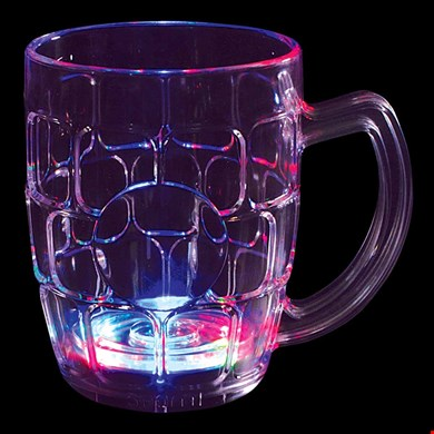 16 oz LED Light-Up Flashing Beer Mug w/6 LEDs