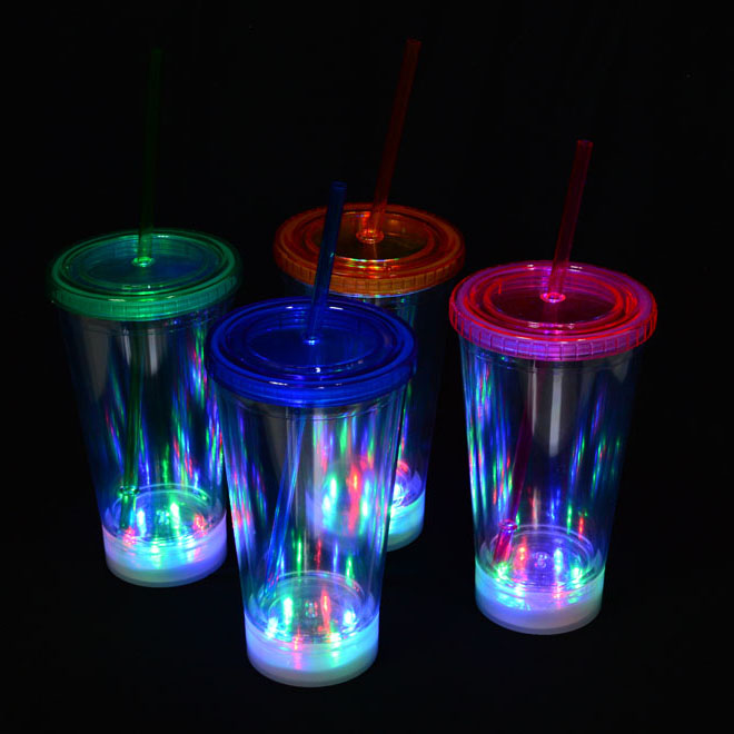 16 Oz LED Light-Up Flashing Insulated Travel Drink Cup / Tumbler with Straw and Screw-On
