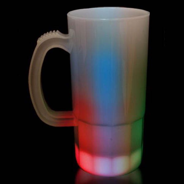 20 oz LED Light-Up Flashing Tall 8-Mode White Beer Mug