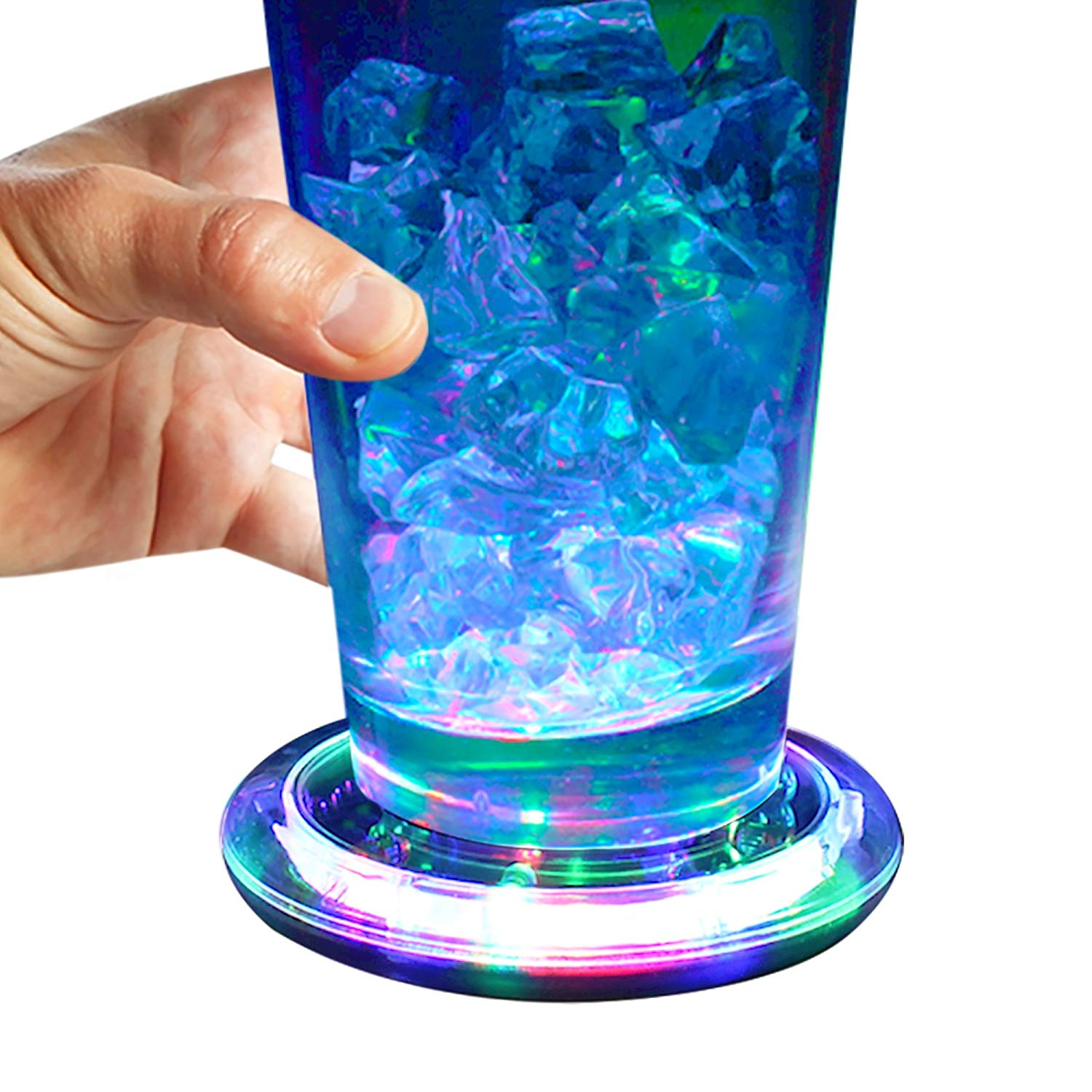 Light-Up Flashing Multi-Color Infinity Tunnel LED Drink Coaster or Display Base