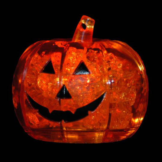 Litecubes® Flashing LED Freezable Pumpkin Ice Cube - Perfect for Halloween, Multicolor - 1 cube