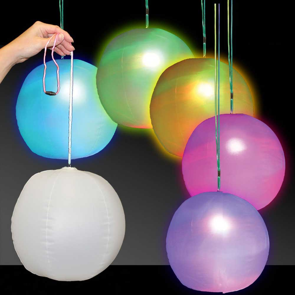Inflatable LED Flashing Multicolor 12 Inch Beach Ball, Lot of 96