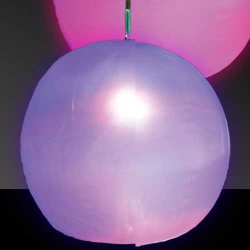 Inflatable LED Flashing Multicolor 12 Inch Beach Ball or Decorative Lantern