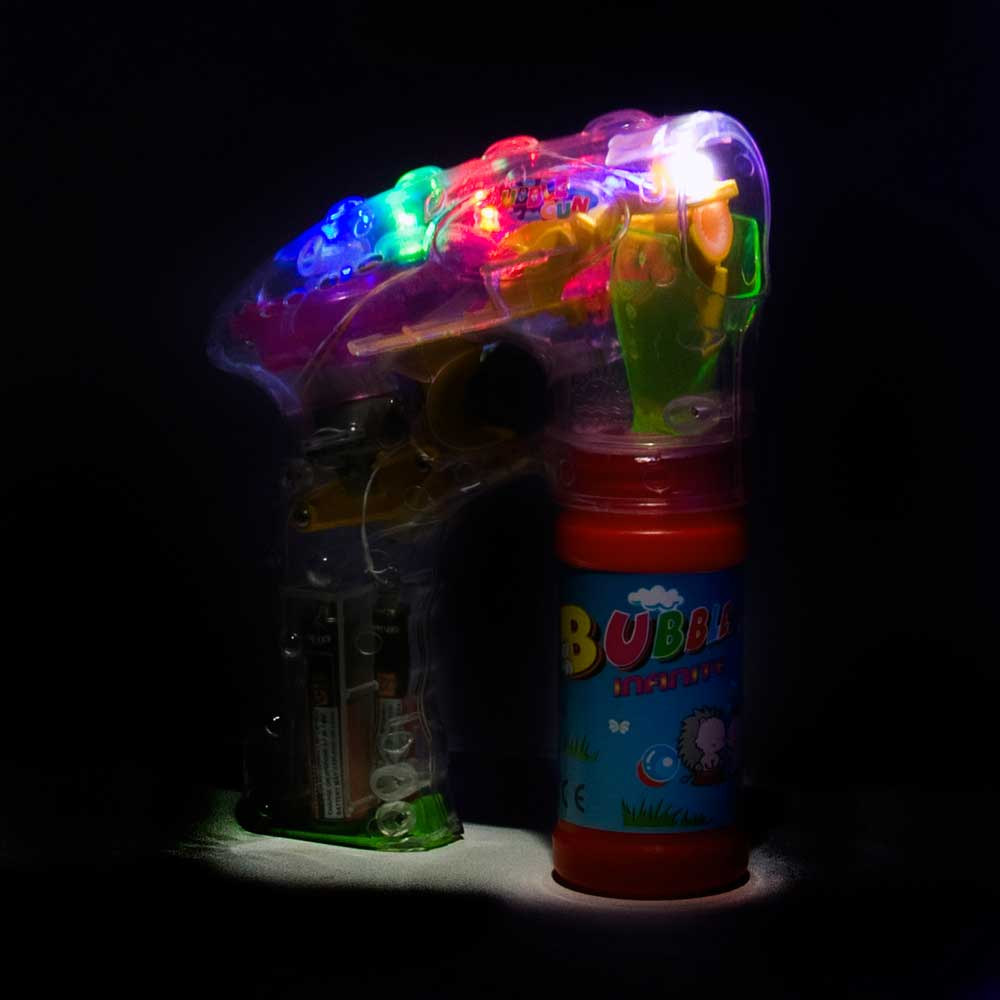 LED Flashing Bubble Gun with Bubble solution - Lot of 24 packs (half case)