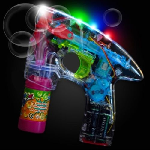 LED Flashing Bubble Gun with 2 bottles of bubble solution - Case of 48 packs