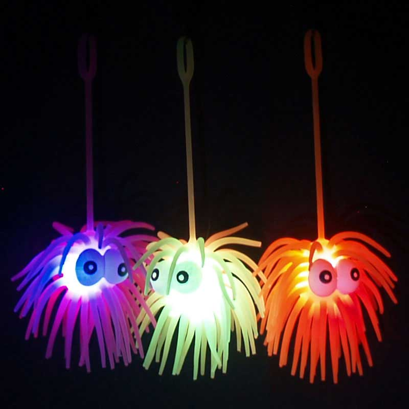 Flashing LED Multicolor Puffer Yo-Yo, Googly Bug Eyes and Tenticles, assorted colors