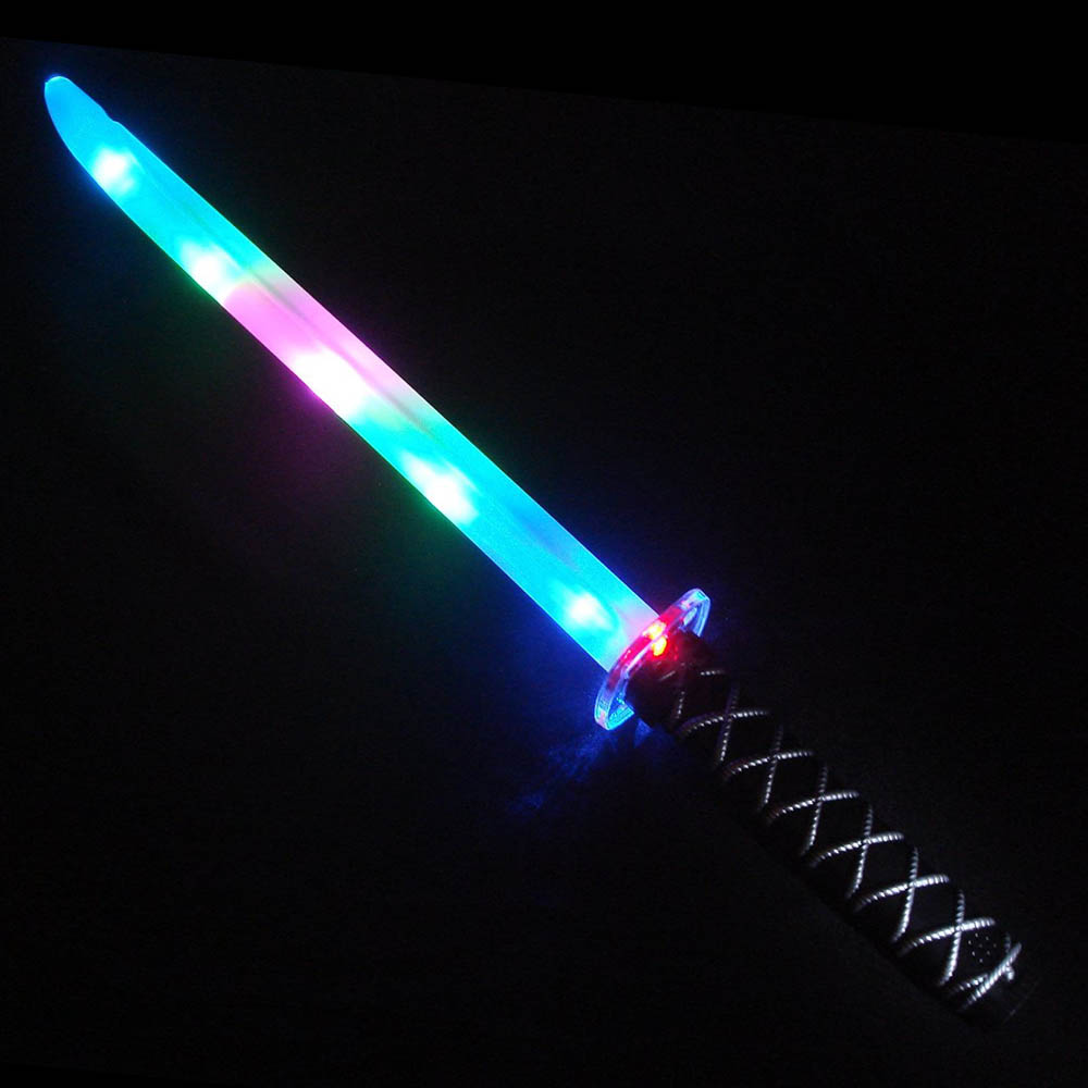 "27"" Flashing LED Ninja Sword - Multi-Color or Blue, Bulk Lot of 36 Swords"