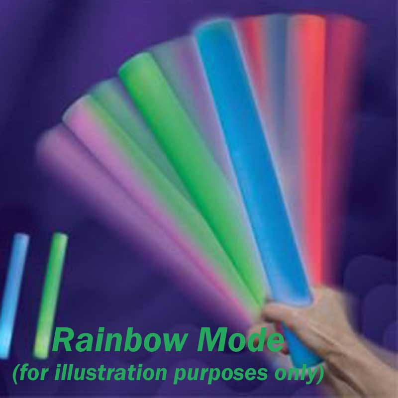 Rally Foam Wand LED Light-Up Baton Cheer Stick, Multi-Color, Deluxe 6 mode Rainbow, 144 ct. lot