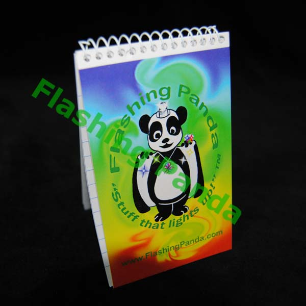 Flashing Panda Spiral Flip Notepad
