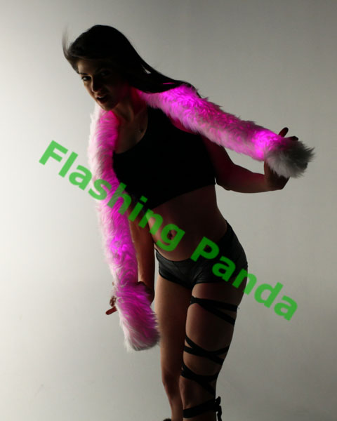 Electric Styles Fur Boa, White, Multi-Color LED Lights