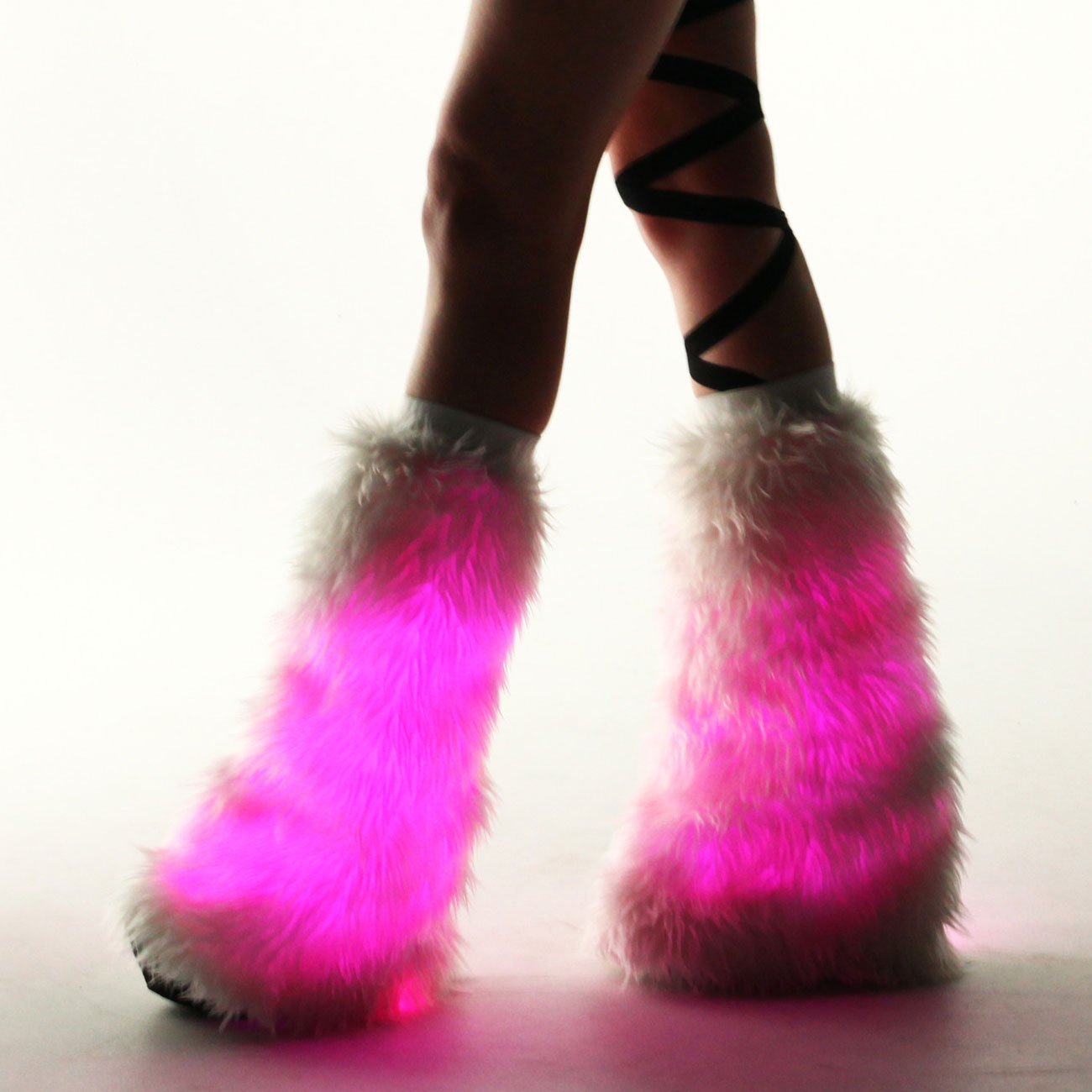 Electric Styles Fur Leg Warmers, White, Multi-Color LED Lights