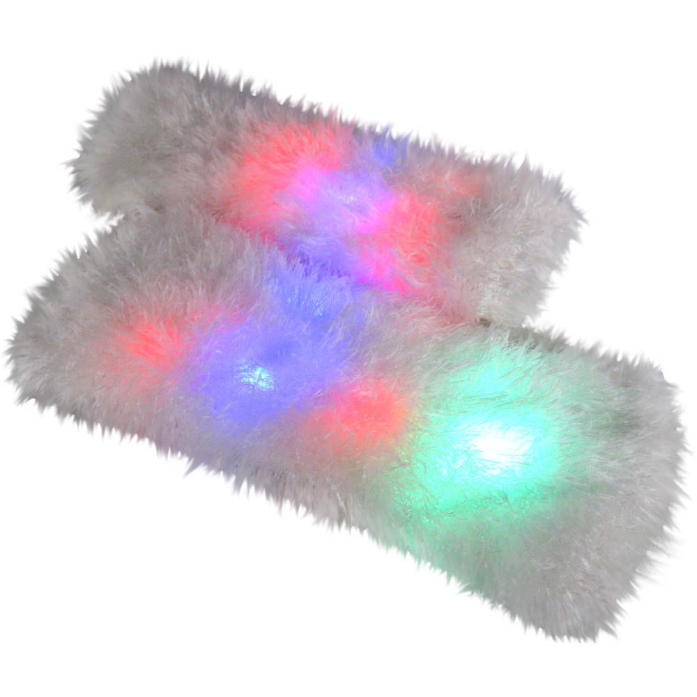 LED Light Up Fuzzy Flashing Raver Leg Warmers
