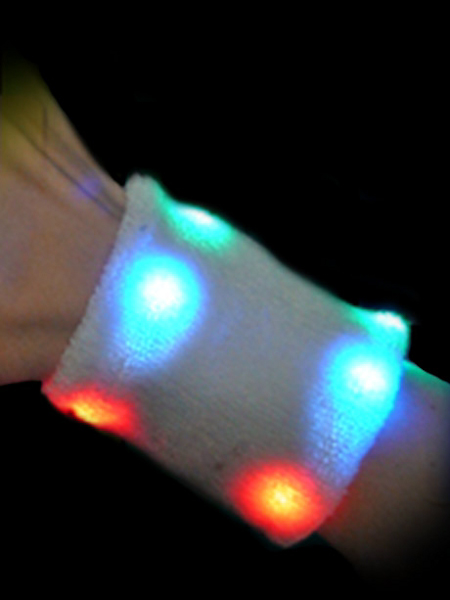 LED Flashing Sweatband, Multicolor - Wrist
