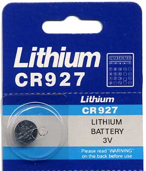 CR927 Lithium Battery, Card of 10 cells