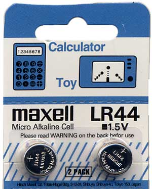 AG13 / LR44 / L1154 Button Cell Battery, Card of 10 batteries