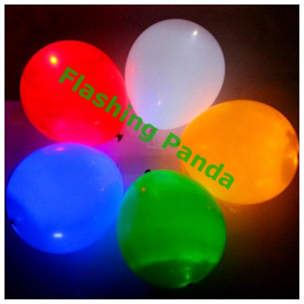 Flashing LED Light-Up Balloons, Pack of 5, Assorted Solid Colors