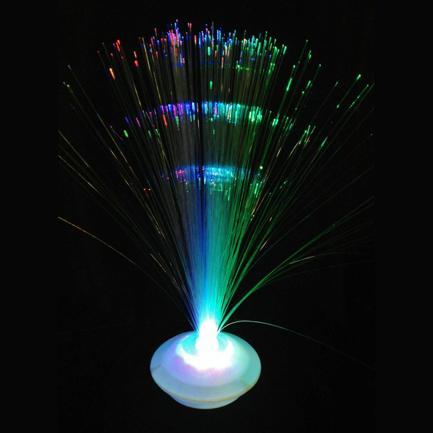 "Fiber Optic Light Up LED 12"" White UFO Centerpiece, Multi-Color"