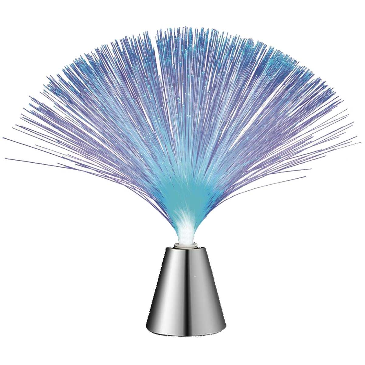 "Fiber Optic Light Up LED 13"" Silver Cone Battery Operated Centerpiece Lamp, Multi-Color"