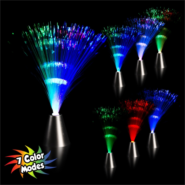 "Fiber Optic Light Up LED 13"" Silver Cone Centerpiece Lamp, Multi-Color"