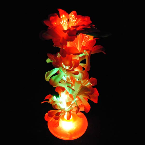 "Fiber Optic Light Up LED 13"" Centerpiece with Flowers, Muilt-color Lights"