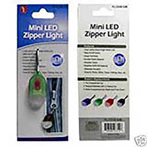 LED Zipper-Pull Safety Lights, Great For Pets Too - Bulk Lot of 24 in Retail Display Box