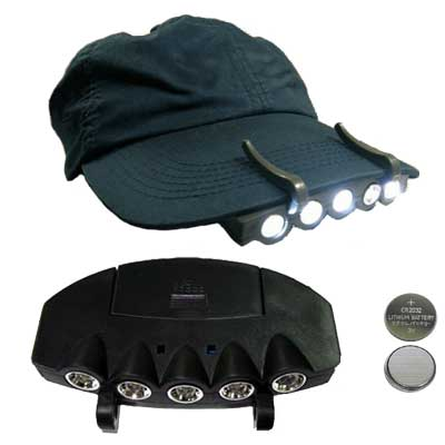 5 LED Baseball Cap/Hat Clip-on Flashlight, White light, 24 unit lot