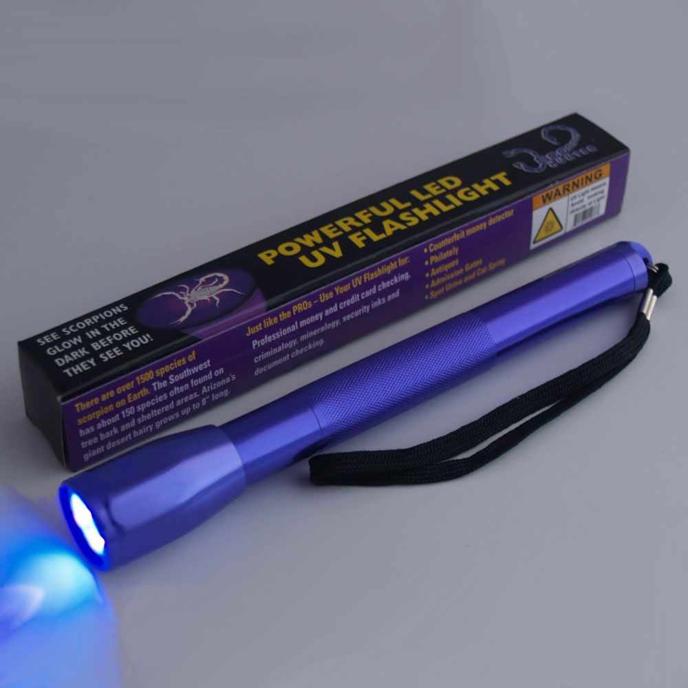 4-LED 395nm UV Aluminum Flashlight - 24 unit lot