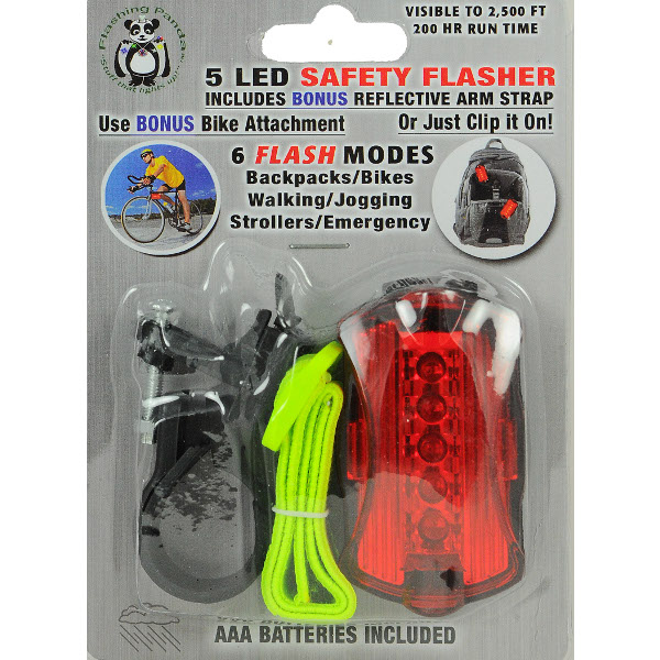 Flashing Panda 6-function Red 5 LED Bike / Jogging Safety Flasher Light - 24 unit lot