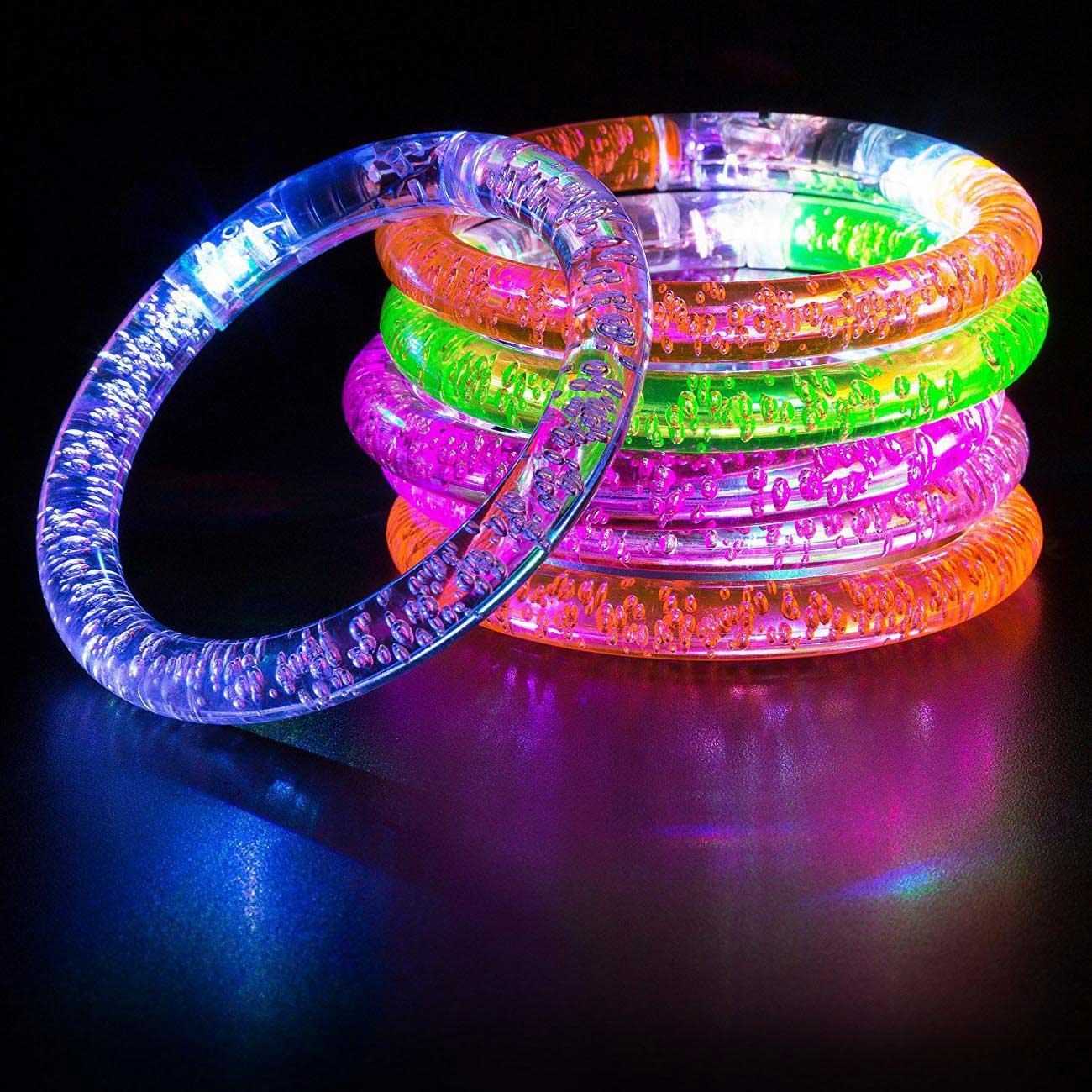 Light-Up Glow Multi-Color LED Flashing Acrylic Bubble Bangle Rave Party Bracelet