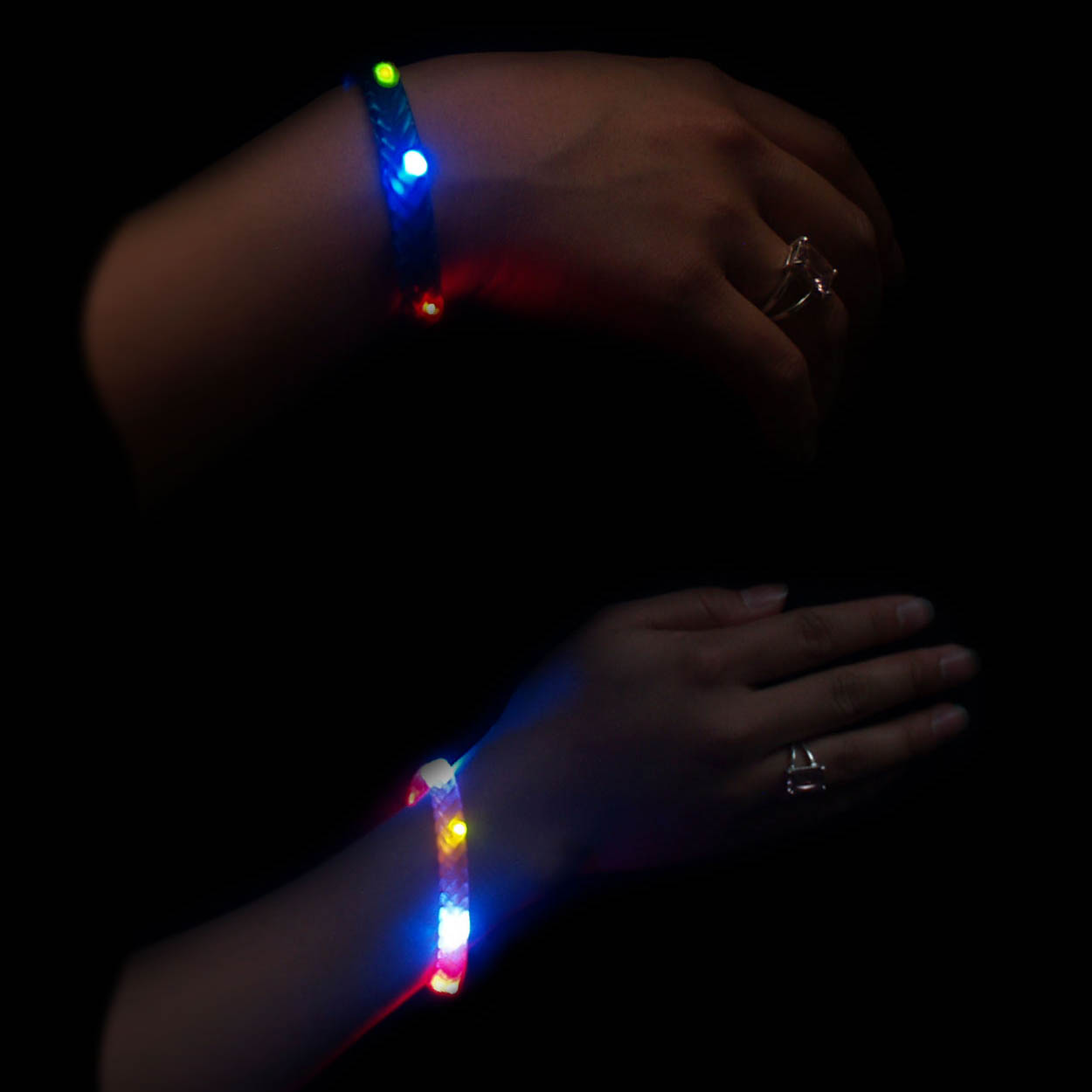 Braided LED Flashing Multicolor Light Up Bracelet - Wholesale lot of 288 bracelets