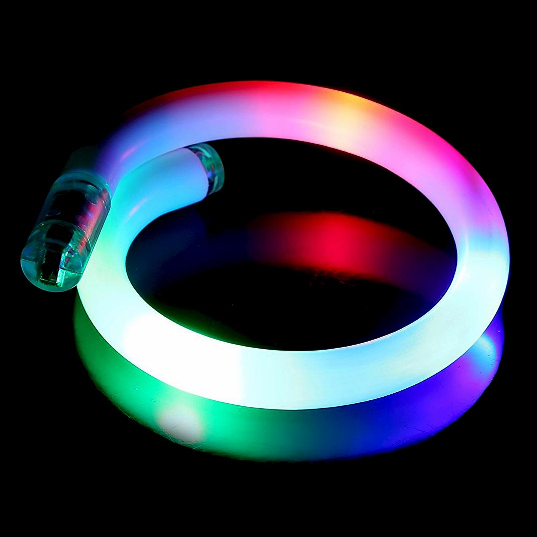 Light-Up Glow Multi-Color 3-LED Flashing Twist Tube Bangle Rave Party Bracelet/Anklet