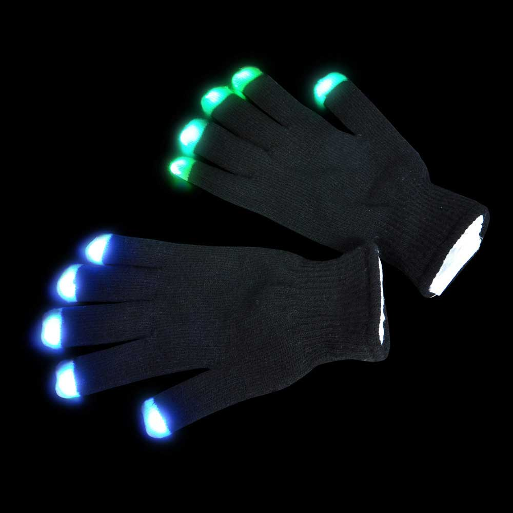 LED Raver Gloves, Blacked Out, 6 modes, RGB Multicolor