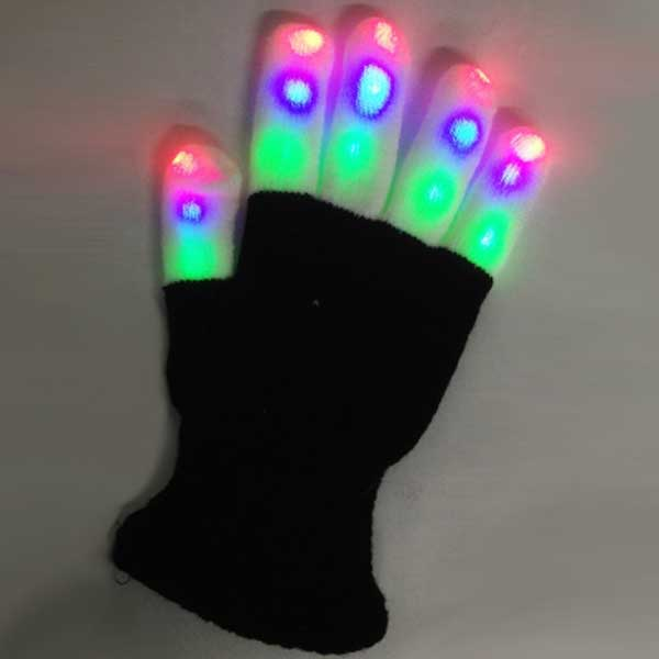 LED Raver Gloves, Crayon, 6 modes, RGB Multicolor, 144 unit lot - 1 case