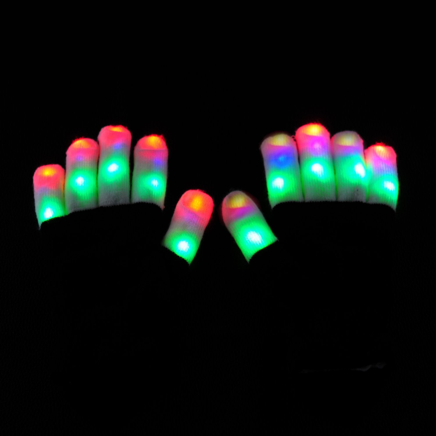 LED Raver Gloves, Crayon Blacked Out, 6 modes, RGB Multicolor