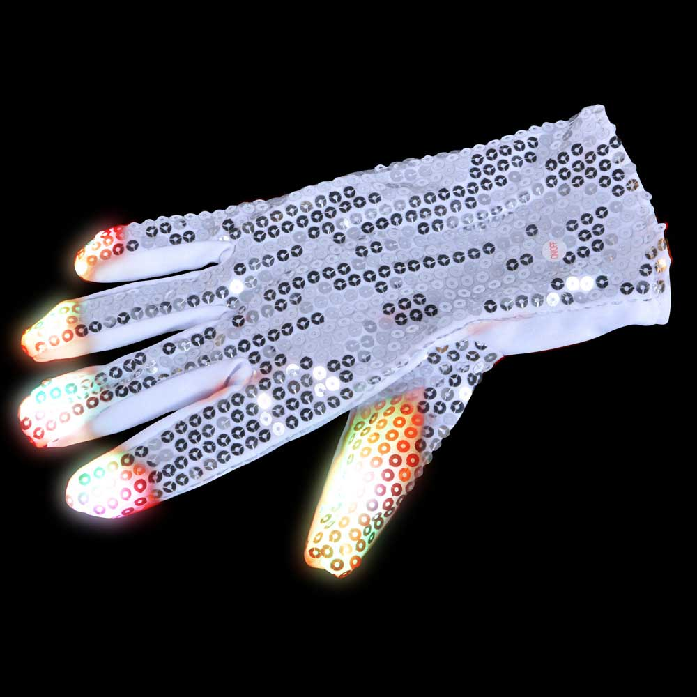 LED Raver Glove, 6 modes, Multicolor RGB lights, Sequin Right Hand (Michael Jackson-style)