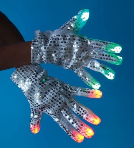 Raver Gloves, Silver Sequin, 6 Modes, Multicolor - R,G,B LED in each fingertip