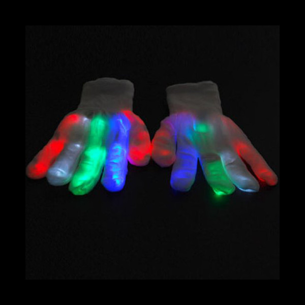 LED Raver Gloves, Skeleton, 6 modes, Multicolor (Red+Green+Blue lights in each glove)