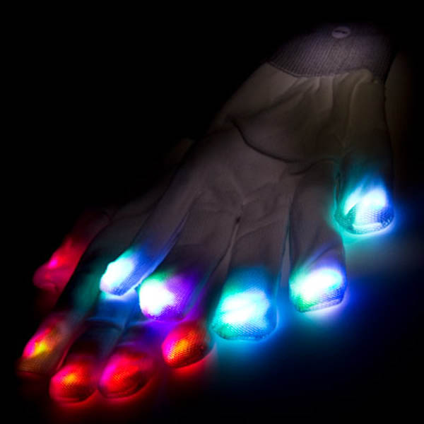 LED Raver Gloves, White, 6 modes, RGB Multicolor