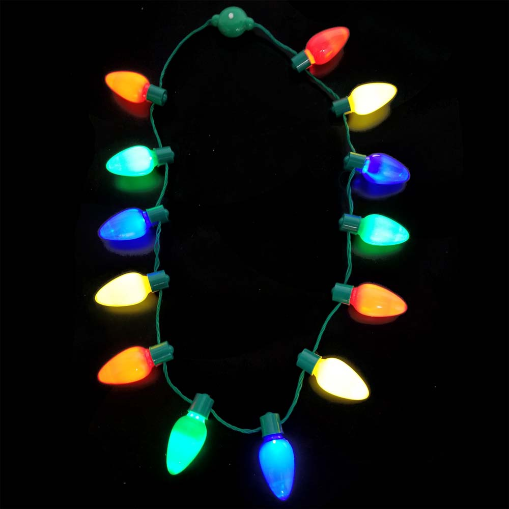 Flashing Christmas Light Bulb Multi-Color LED Necklace, 6 Modes, 13 Jumbo Bulbs