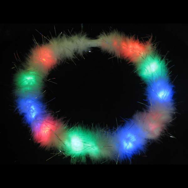 White Feather LED Flashing Multicolor Necklace