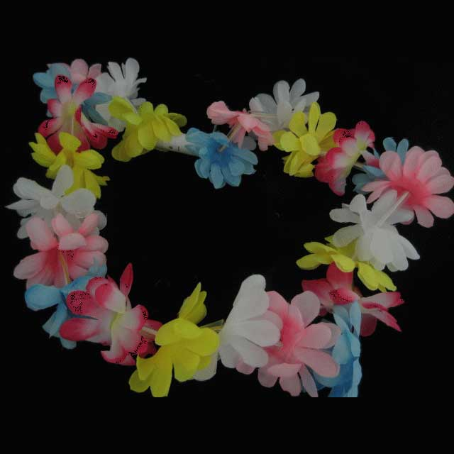 lei flower blinking p s hawaiian rave led glow flashing vacation luau necklace